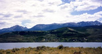 Heeney community sets on the west side of Reservoir and the Gore Range is in the background.