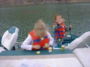 The kids love to fish from the pontoon boat.