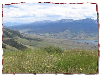 View of Gore Range, Lower Blue River Valley and Green Mountain Reservoir  from Williams Peak 4x4 road